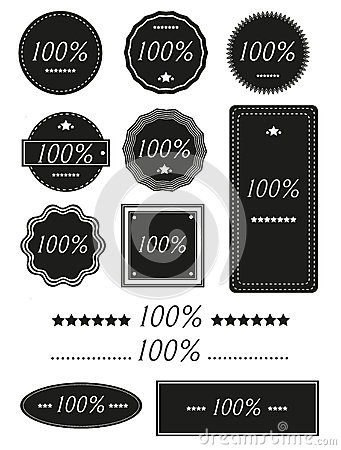 Set of One Hundred Percent Badges,Label