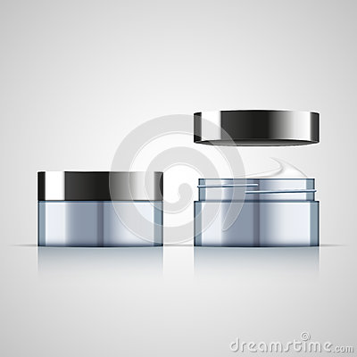 Set of open and closed cream jar, realistic design Vector Illustration