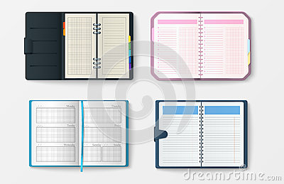 Set of open realistic notebooks with pages diary office sheet template booklet and blank paper education copybook Vector Illustration