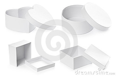 Set of opened pasteboard gift boxes