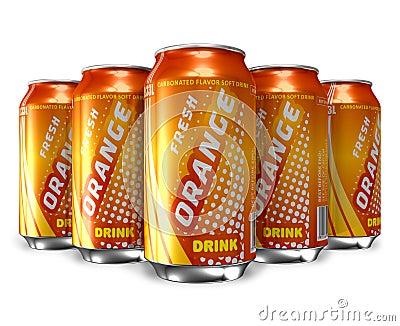 Set of orange soda drinks in metal cans