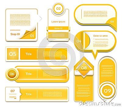 Set of orange vector progress, version, step icons