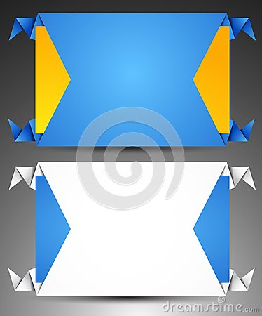Set of origami web banners.