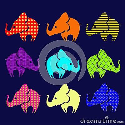 Set of ornamental elephants