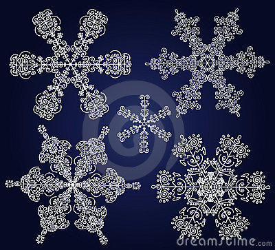 Set of ornamental snowflakes
