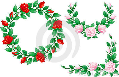 Set of ornate elements with roses