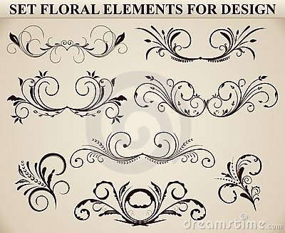 Set of ornate floral element