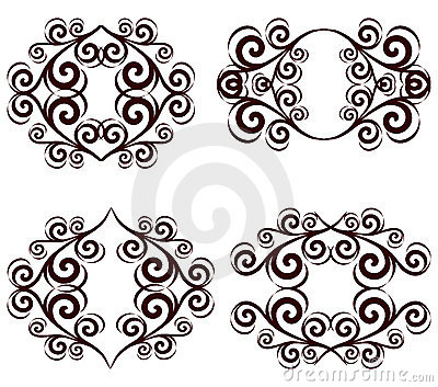 set of ornate floral frames.