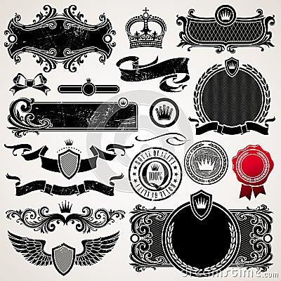 Set of ornate frames and elements