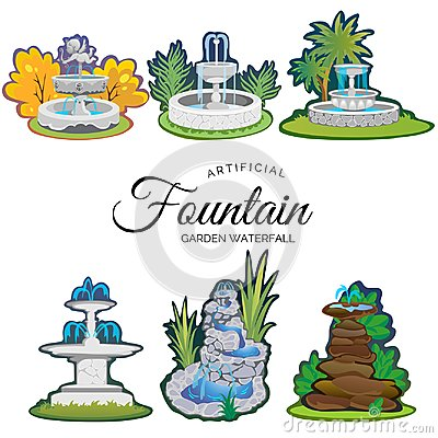 Set of outdoors fountain for gardening Vector Illustration