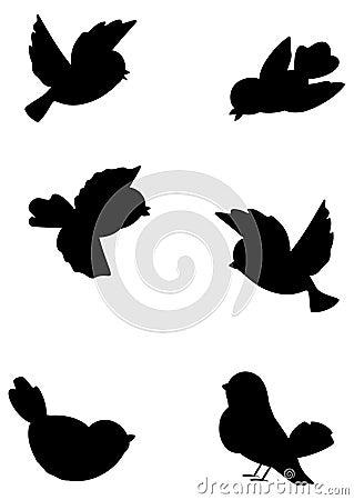 Free Set Outline Birds Royalty Free Stock Photo - 13096825