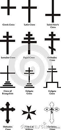 Free Set Ov Vector Christian Crosses Stock Image - 5813411