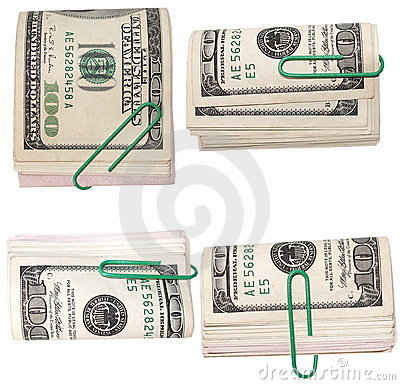 Set pack $ 100 dollar bills and paper clip