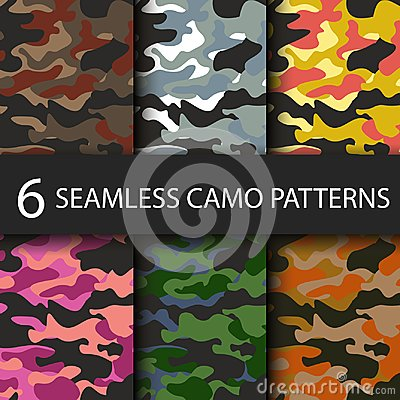 Set of 6 pack Camouflage seamless patterns background with black shadow. Classic clothing style masking camo repeat Vector Illustration