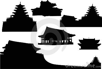 Set of pagoda silhouettes
