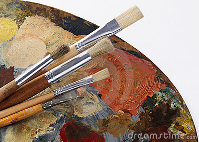 set of paintbrushes and palette