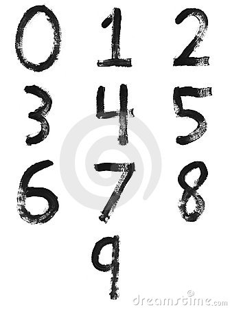 Set of painted numbers