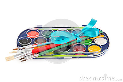 Set of paints and brushes