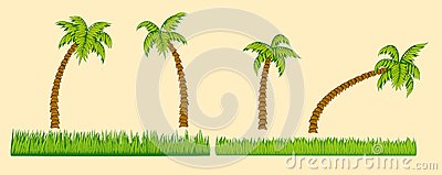 Set of palm trees and grass