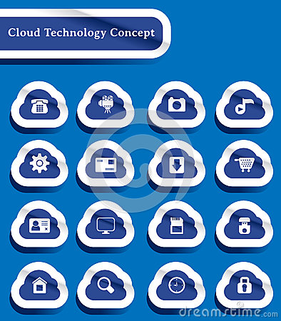 Set of paper cut technology of cloud computing ico