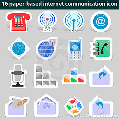 Set of paper icons internet communication