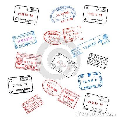 Set of passport visa stamps
