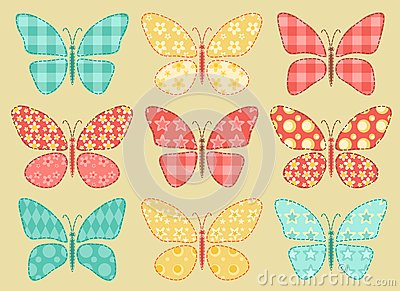Set of patchwork butterflys 2.