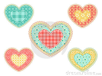 Set of  patchwork hearts.
