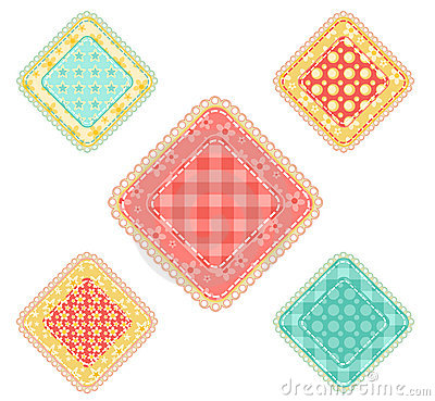 Set of  patchwork rhombuses.