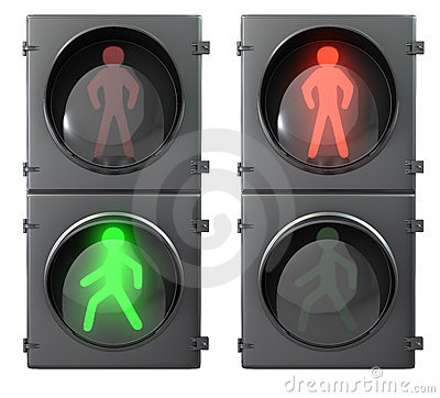 Set of pedestrian light lights