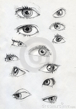 Set of pencil drawn eyes