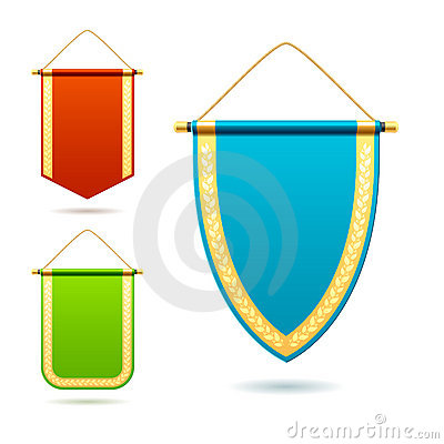 Set of pennants. Detailed illustration.