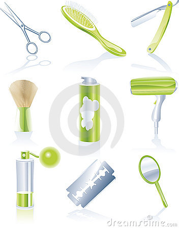 Set of personal haircare icons