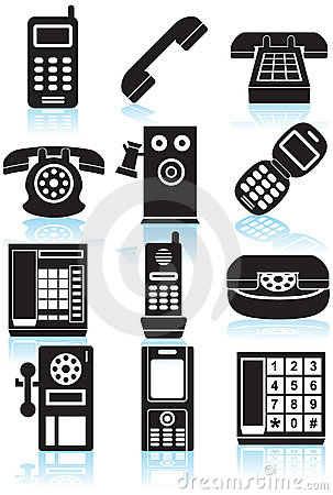 Set of Phone Icons - black and white