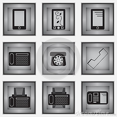 Set of 9 phone icons