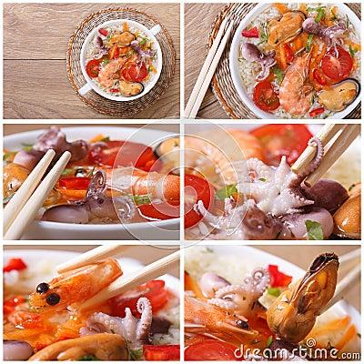 Set of photo asian seafood soup close-up Stock Photo
