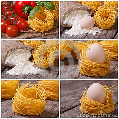 Set of photo dry pasta in the form of nests Stock Photo