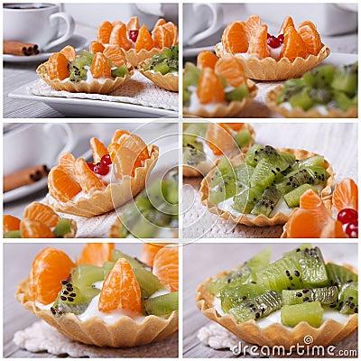 Set of photo fruit tartlets with kiwi and tangerine Stock Photo