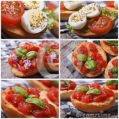 Set of photo Italian bruschetta with tomato Stock Photo