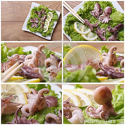 Set of photo little octopus with lemon Stock Photo