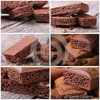 Set of photo macro porous chocolate Stock Photo