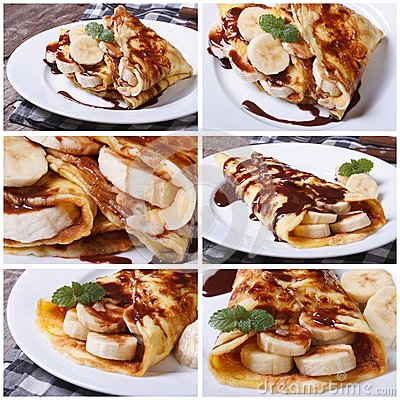 Set of photo of pancakes with bananas and chocolate Stock Photo