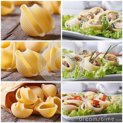 Set of photo pasta lumakoni stuffed and dry Stock Photo