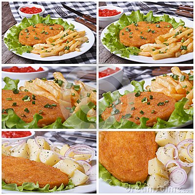 Set of photo schnitzel and fries with sauce and lettuce Stock Photo