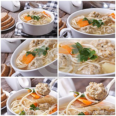 Set of photo soup with meatballs and noodles Stock Photo