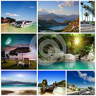 A set of photos of summer holidaym