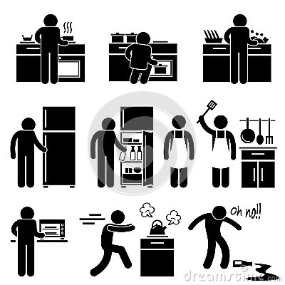 Man Cooking Washing at Kitchen Pictogram