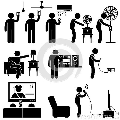 Man Using Home Appliances Equipment Pictogram