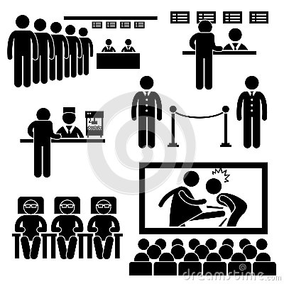 Cinema Theater Movie Film People Pictogram