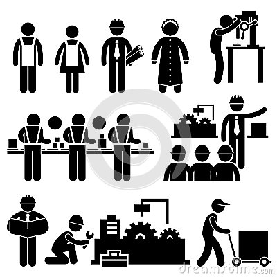 Factory Worker Manager Working Pictogram